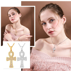 Ankh necklace gold plated with high quality zirconia