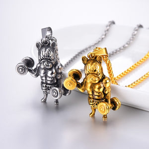 Fitness Muscle Dog Pendant Necklaces 316L Stainless Steel