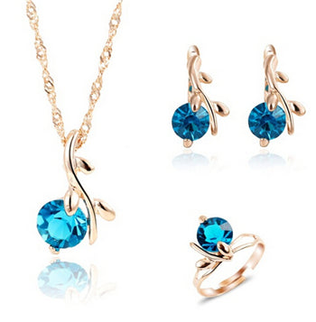 Jewelry Sets Charm Crystal Round Pendant Necklaces Earrings (many colors available)