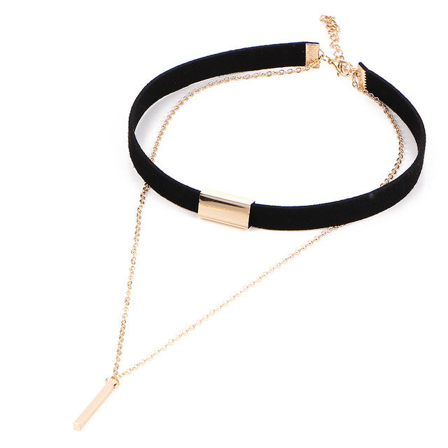 Black necklace torques multilayer Velvet Choker Gothic Necklace
