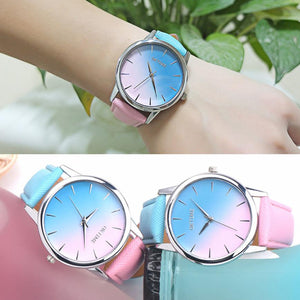 Rainbow Design Leather Band Analog Alloy Quartz Women Watch