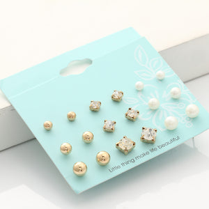 9 Pairs/set Crystal Simulated Pearl Stud Earrings Gold/Silver Color Fashion Earrings For Women