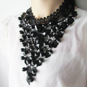 Black Lace Necklaces & Pendants Short Choker Statement Necklace