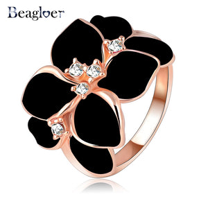 Jewelry Ring With Rose Gold Color Austrian Crystal Black Enamel Flower For Women