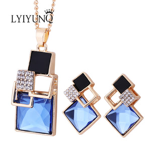 Square Geometry Jewelry Set Pendant Necklace Stud Earrings Crystal Jewelry Set For Women