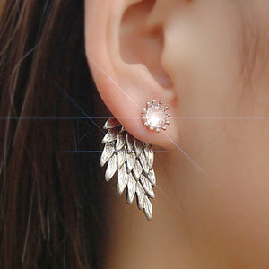 Angel Wings Stud Earrings with Rhinestones