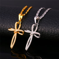 Cross necklace platinum or gold plated with high quality Zirconia
