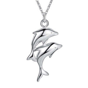 Dolphin Charm Necklace silver plated