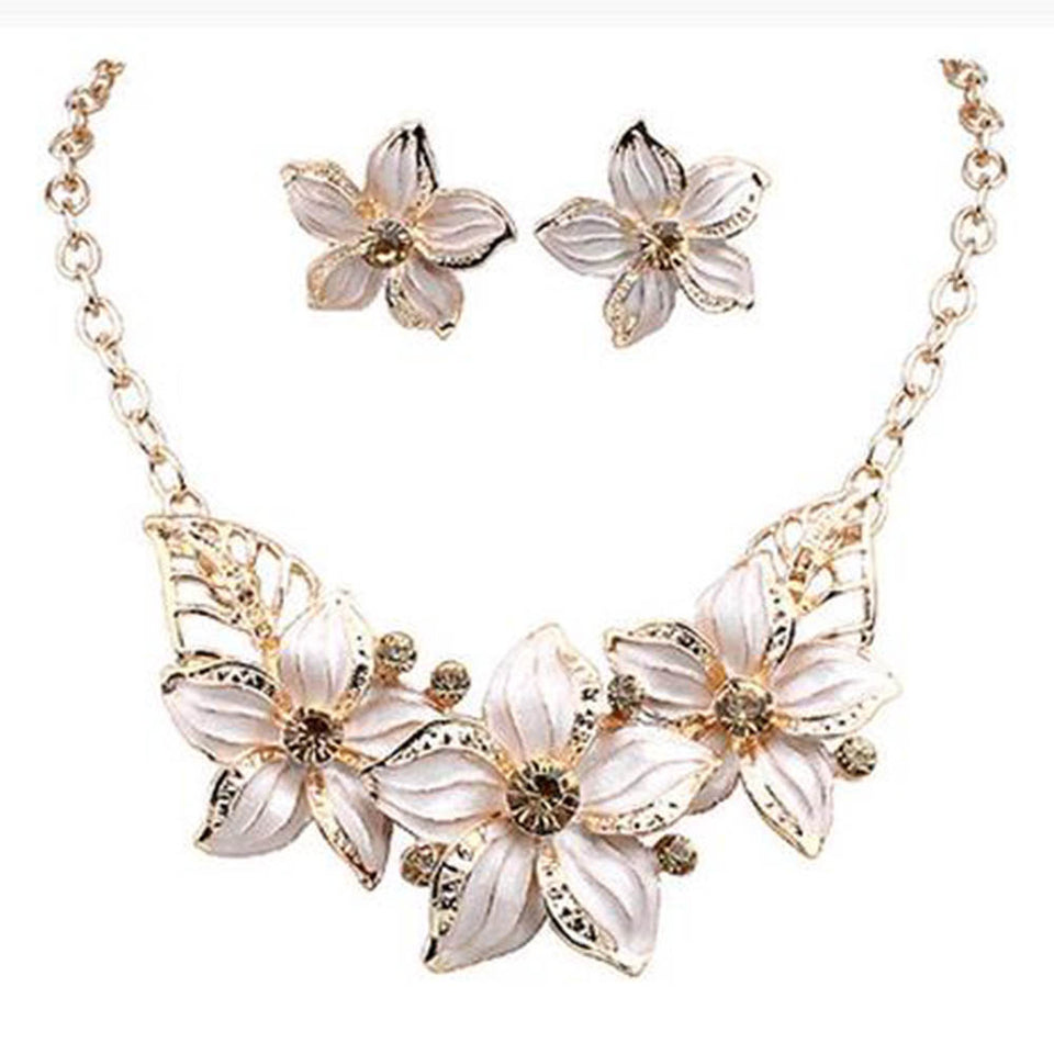 Beautiful Jewelry Set Necklace Earrings Drop Flower (many colors available)