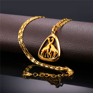 African Giraffe Pendant Necklace Yellow Gold plated