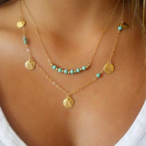 Gold Multilayer Chain Bar Necklace Long Strip Pendant Necklace