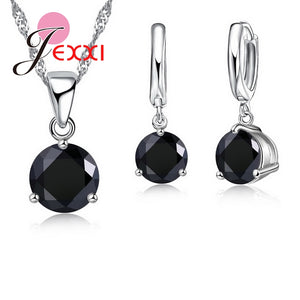 Crystal Necklaces Set 8 Colors 925 Sterling Silver Pendants Stud Earring Sets Cubic Zircon Jewelry