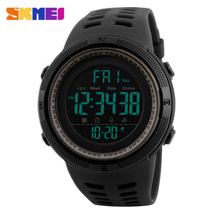 Chronograph Sports Men Watch Double Time Countdown LED Digital Waterproof Alarm Clock