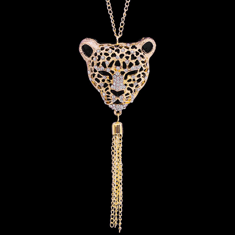 Leopard Chain Tassel Pendant Necklace