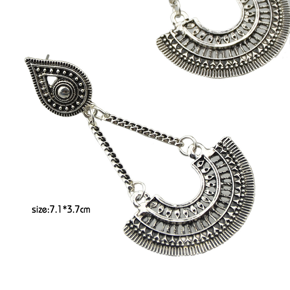 Ethnic Style Jewelry Antique Silver Color Chain with Big Geometric Drop Dangle Earrings for Women os