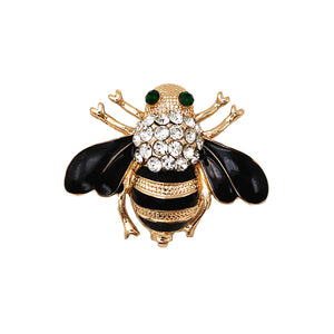 Bee Brooch gold plated or silver plated with Rhinestones