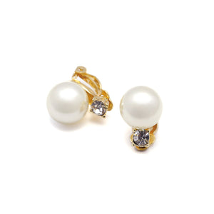 Clip Earrings gold or silver plated with simulated Pearls and Rhinestones