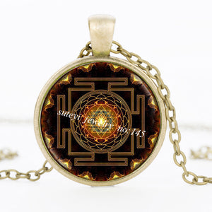 Buddhist Sri Yantra Pendant Necklace