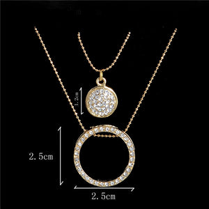 Gold Color Austrian Crystal Classic Hollow Round 48cm necklace pendant earrings jewelry set