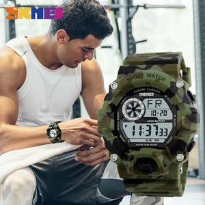 Men Sports Watch Camouflage Military Watches Digital LED Waterproof