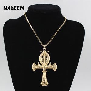 Ancient Ankh Cross Of Horus Necklace Gold-Color
