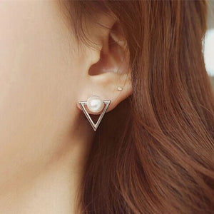 Geometric Triangle Simulated Pearl Stud Earrings For Women