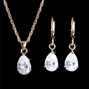 Fashion Gold Color Jewelry Sets For Women Cubic Zirconia Waterdrop Pendant Necklace Earrings Set