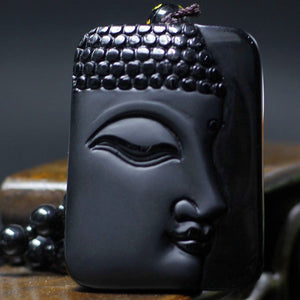 High Quality Unique Natural Black Obsidian Carved Buddha Pendant Necklace