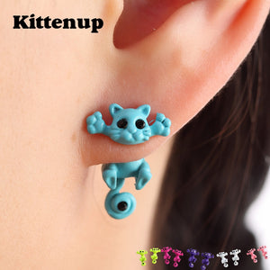 Multiple Color Cute Cat Stud Earrings For Women Girls