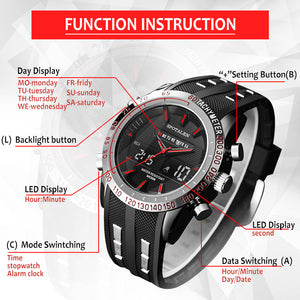Men Sport Watch Luxury LED Dual Display