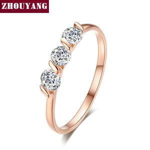 Concise Crystal Ring Rose Gold plated with CZ Zirconia