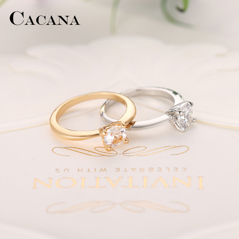 Cubic Zirconia Ring For Women gold- or silver plated