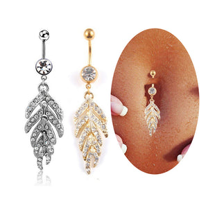 1Pcs Women Sexy Leaf Feather dangle belly button ring stainless steel