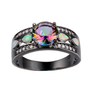 Colorful Rainbow Opal Ring with HQ CZ Zirconia  Black Gold Filled Ring