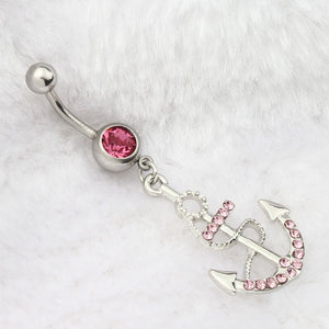 Rhinestone Anchor Dangle Belly Button Ring 316L Surgical Steel Pink or White