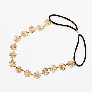 Rose Flower Hairband Accessories Gold Color Hollow Out Rose