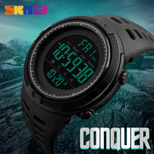 Men Sports Watch Countdown Double Time Watch Alarm Chrono Digital Wristwatch 50M Waterproof
