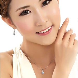 Silver Color Fashion Jewelry Sets Cubic Zircon Necklace & Earrings & Ring Jewelry Set