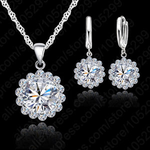 High Quality Jewelry Set 925 Pure Silver Cubic Zircon Necklace Pendant/Earrings