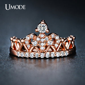 Rose Gold plated Round Cut Cubic Zirconia Crown Ring For Women