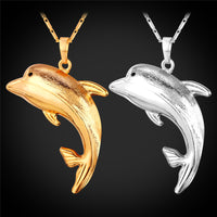 Dolphin Necklace gold plated or platinum plated