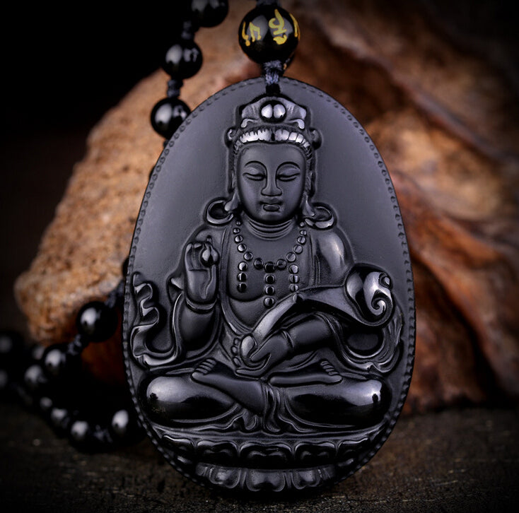 Buddha Natural Black Obsidian Carved Pendants Necklace