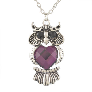 Owl Pendant with Long Necklace Women with Rhinestone