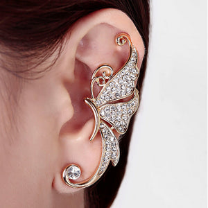 Left Ear only Butterfly Clip Earring with Rhinestone