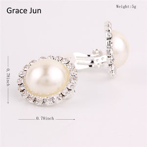 Clip Earrings with Simulated Pearl and high quality Rhinestones