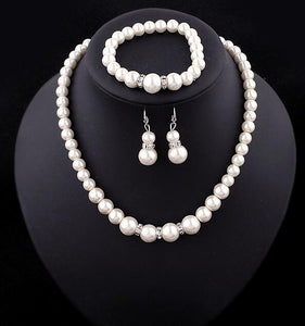 Fashion Classic Imitation Pearl Silver Plated Jewelry Set Necklace Bracelet Earrings