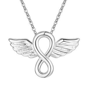 Infinity & Angel Wings Pendant Necklace silver plated