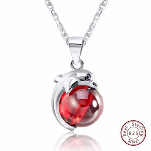 925 Sterling Silver Red Agate Stone Dolphin Pendant Necklace