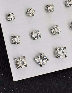 9 Pairs/Set Design Square Rhinestone Stud Earrings For Women
