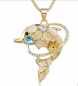 Exquisite Dolphin Necklace Pendant with Opals and Rhinestones